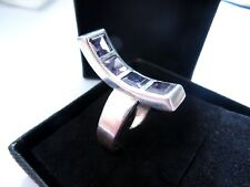 925 Argento Sterling insolito Curvo bar anello di ametista Taglia M ARTISTICO Arty Design