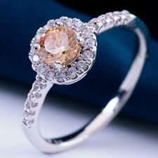 Champagne Round  Cubic Zircon White Gold Plated Lady Ring Size 9