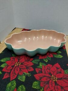 "Catalina Pottery Scalloped Low Bowl, Vintage Turquoise/Coral USA 14""L x 7 3/4""W"