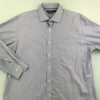 Lauren Ralph Lauren Mens Button Up Dress Shirt Purple Stripe Cotton 17 1/2 34/35