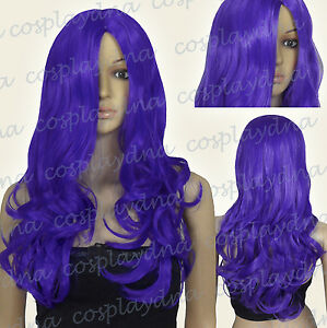 "24"" Heat Resistant Purple Long Midpart Curly Wavy Cosplay Wigs 38004"