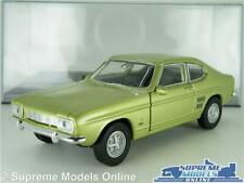 FORD CAPRI MK1 MODEL CAR 1969 1:38 SCALE GREEN + DISPLAY CASE KINSMART MARK ONEK