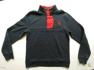 Spyder Quilted Button Men's Pullover Fleece Sweater Ski Black Red $149 MSRP NWT