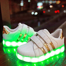 Charge Led Kids Children Boys Girls Light Up Sneakers Walk Flat Shoes Trainer