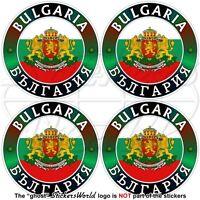 "BULGARIA Bulgarian Flag-Coat of Arms Bumper-Helmet Decals, Stickers 2"" (50mm) x4"