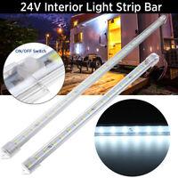 24V 30/50cm LED Interior Light Strip Bar W/ Switch Car Van Caravan Truck Boat #