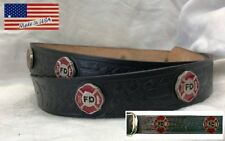 Belt Leather Embossed Fire Department Black Made in USA