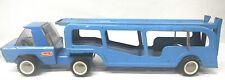 Vintage 1970's Buddy L Auto Transport Truck Blue USA Pressed Steel Transporter