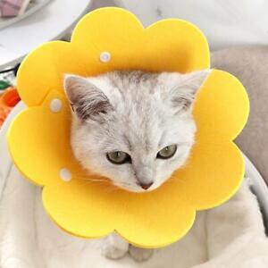 Yellow Sun Flower Dog Cat Vet Collar Cone Wound Healing Brace Non-toxic L4S9