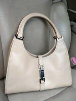 Gucci Jackie Hobo Bag Shoulder Beige Leather Purse 002-1067 Piston Handbag