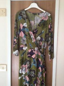 NINA LEONARD Green FLORAL Maxi DRESS Size L.  QVC