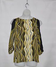 Bob Mackie Cold Shoulder Printed Top w/ Scoop neck & Button Detail Size S Yellow