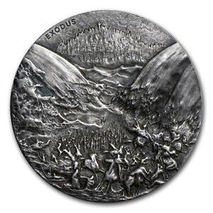 2015 Biblical Series Exodus 2 oz .999 Silver Antiqued Finish HR Coin W/OMP & COA