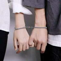 2Pcs Couple Rope Braided Distance Magnetic Bracelet Friendship Lover Jewelry Set