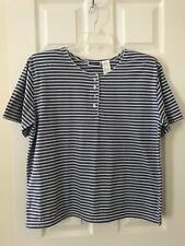 Erika & Co Women's Size X-Large Blue & White Striped Button Up Tunic Top Blouse