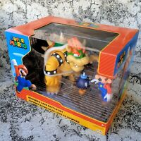 World of Nintendo Bowsers Lava Battle Deluxe 6-in Figure Set with Mario Bob-Omb