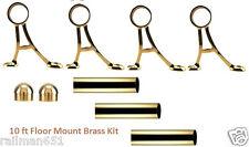 Floor Mount Bar Foot Rail Tubing Kit - 10 Foot Polished Brass Bar Foot Rest