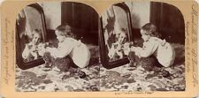 LOOK AT YOURSELF - GIRL W/ CAT IN MIRROR STEREOVIEW