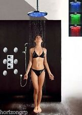 "Thermostatic Shower Valve LED 12"" Round Shower Head Set Body Massage Spray Jets"