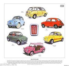 CLASSIC FIAT 500 & 600 Fine Art Print - includes 595 Abarth Nuova Multipla Jolly