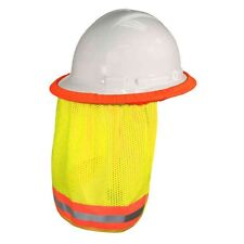 YELLOW SAFETY HARD HAT NECK SHIELD SUN SHADE HELMET REFLECTIVE STRIPE HI VIS