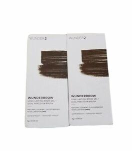 2x WUNDER2 Wunderbrow Long-Lasting Brow Gel & Dual Precision Brush BLACK / BROWN