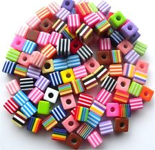100 BEAUTIFUL HIGH QUALITY CANDY STRIPE MIXED CUBE BEADS 10MM - FAST FREE P&P
