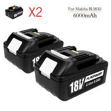 2X 6.0Ah 18V Lithium-ION Battery For Makita BL1830 BL1860 LXT400 BL1850 18 Volt