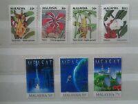 MALAYSIA 1993 WILD FLOWERS 4v & 1996 MEA SAT 3v SETS MNH MINT