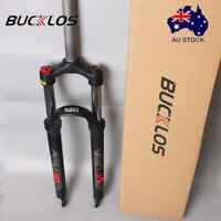 "BUCKLOS 26/27.5/29"" MTB Bike Suspension Fork 100mm 1-1/8"" Preload Adjust QR Disc"