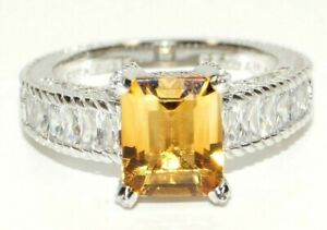 JUDITH RIPKA 925 St Silver CITRINE CZ RING Size 9 - New Authentic - GREAT GIFT!