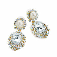 ELEGANT PEARL & CLEAR DIAMANTE CRYSTAL FORMAL DRESS EARRING STUD POST 4.5cm DROP