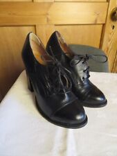"""Topshop size 4 EU 37 black leather Oxford block heels leather 4"""" lace up career"""