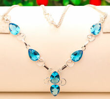 Superbe Collier Artisanal Topaze bleu Plaqué Argent 925 Str PROMO