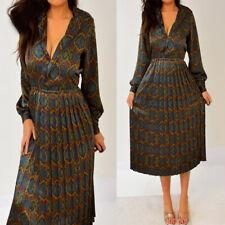TALBOTS Green Blue Burgundy Red Paisley Long Sleeve Satin Pleated Dress 4 P S