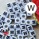 """W"" White Square Alphabet Letter Acrylic Plastic 7mm Beads 37C9129-w"
