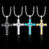 Herren Edelstahl 60cm Kugelkette mit Kreuz Anhänger - gold/silber/schwarz/blau
