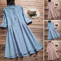 ZANZEA Women Autumn Plus Size A-Line Long Sleeve Plain Solid Basic Shirt Dress