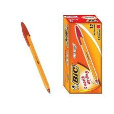 12 PCS BIC Orange Fine 0.7mm Easy Glide Ballpoint Pen 1 Box Red vee