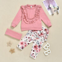 Newborn Infant Baby Girls Ruffle T shirt Floral Pants Outfits Set +Hair Band Set