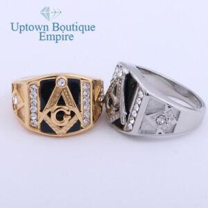 Masonic Mason Freemason G Pillar Men's Stainless Steel Ring Size:8-13 #JA