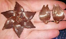 Vintage Copper Jewelry Set - Brooch & Clip On Earrings - 2 3/8 and 1 3/8 inch