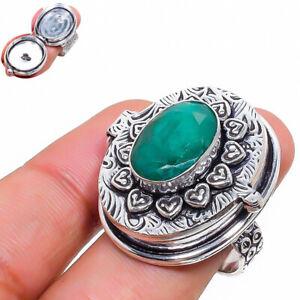 Skota Emerald Gemstone 925 Sterling Silver Jewelry Poison Ring Size 8 G295