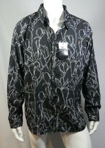 Mens Big And Tall Long Sleeve Floral Print Shirt Size 3XL Black MSAug1-1