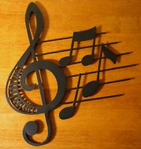 Black Musical Notes Music Room Staff Treble Clef Metal Wall Sculpture Sign NEW