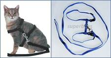 Blue Pet Cat Kitten Small Dog Puppy Adjustable Lead Leash- Collar Harness Safety