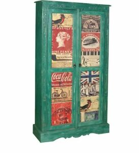 Wooden Kitchen 2 Door Storage Pantry Cabinet Cupboard Food Organizer Antique