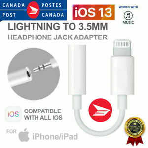 For iPhone 7 8 Plus X 11 Lightning To 3.5mm Jack Earphone Headphone Aux Adapter
