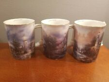 Thomas Kinkade Lighthouse Handle Seaside Inspiration Heirloom Mugs 1st Set B1640
