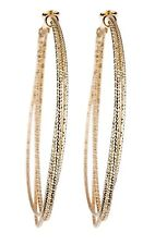Clip On Hoop Earrings - gold plated with three gold hoops - Delta